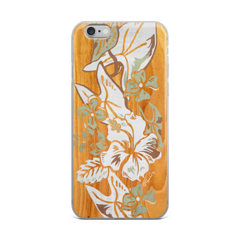 Surfboard Hawaiian Print Retro - Balsa Cell Phone Case - Fits iPhone X and Other Sizes 5-X
