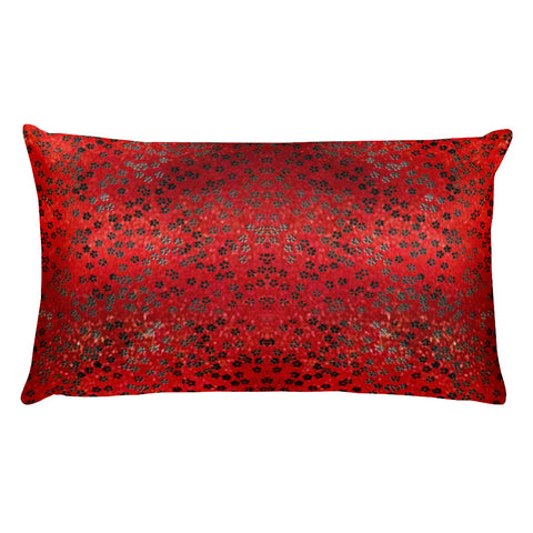 On My Way Little Flower Rectangular Pillow - Red