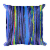 Pastel Stripe in Blues Square Pillow