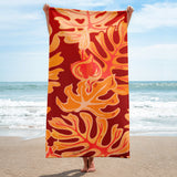 Beach Leaves in Red Yellow Towel