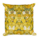 Kimono Flowers Yellow Square Pillow