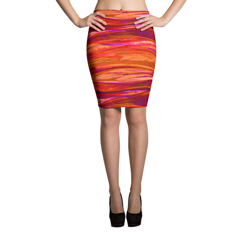 Feather Breeze Spandex Bodycon Pencil Skirt-Red