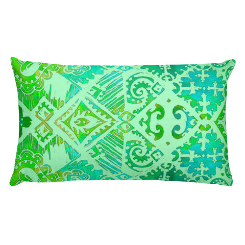 Hawaiian Vintage Floral Spray in Sea Green Rectangular Pillow