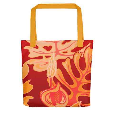 Beach Leaves in Red Yellow Tote bag