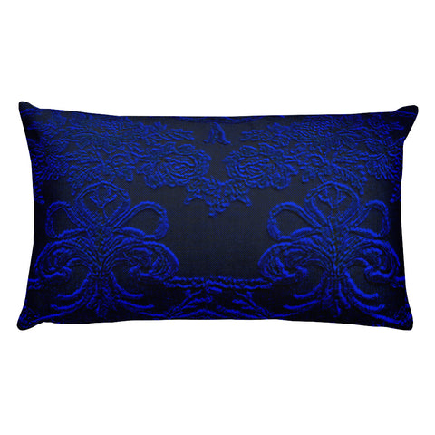 Baroque Royal Blue and Grey Rectangular Pillow