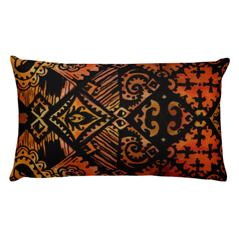 Hawaiian Vintage Block Print in Brown Orange Rectangular Pillow
