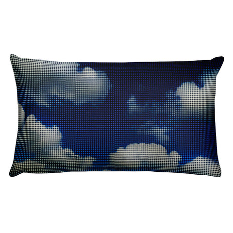 My Head is in the Clouds - Blue Rectangular Pillow