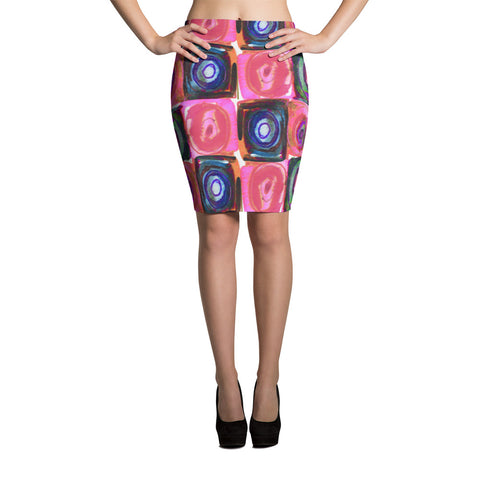 Circle in the Square Pink Spandex Bodycon Stretch Pencil Skirt