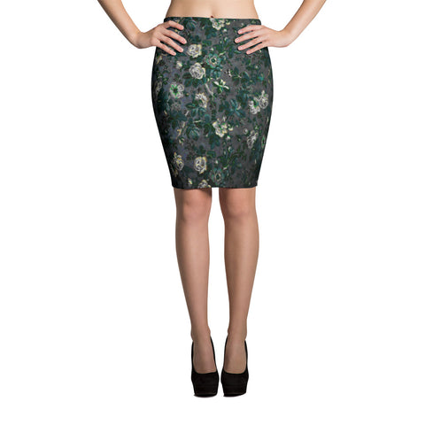 Boho Deep Flower White Rose Bodycon Spandex Stretch Pencil Skirt