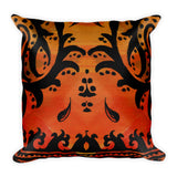 Paisley Border Warm Orange & Black Square Pillow