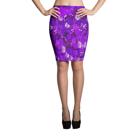 Floral Kimono Print Bodycon Sexy Print Pencil Skirt-Purple