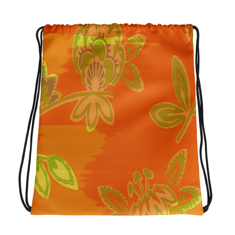 Hawaiian Vintage Floral Orange Drawstring bag