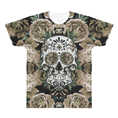 Paris METRO Couture: Sugar Skull in Natural Over Printed T-Shirt - ParisMETROCouture.com