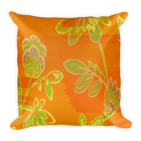 Hawaiian Vintage Floral Spray in Orange Green Square Pillow