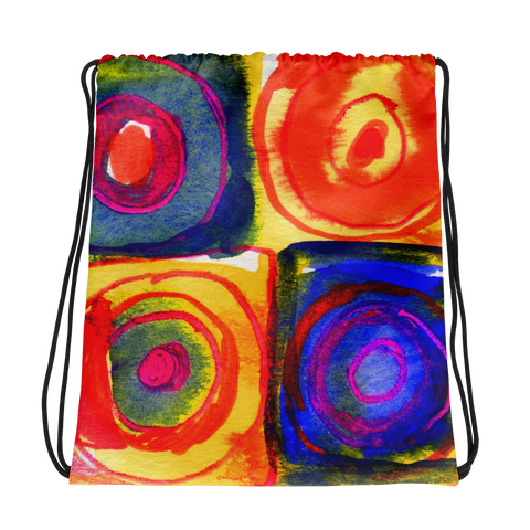 Circle in a Square Warm Tones Drawstring bag