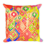 Crystal Rain - Peach Square Pillow