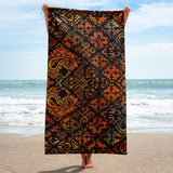 Hawaiian Vintage Block Print in Brown Orange Beach Towel