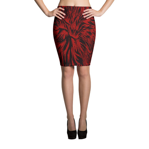 Close Up Flower Art Spandex Bodycon Pencil Skirt-Red