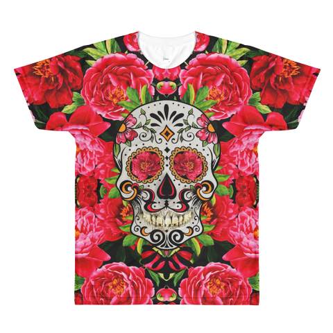 Paris METRO Couture: Sugar Skull in Reds All-Over Printed T-Shirt - ParisMETROCouture.com