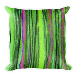 Pastel Stripe in Greens Square Pillow