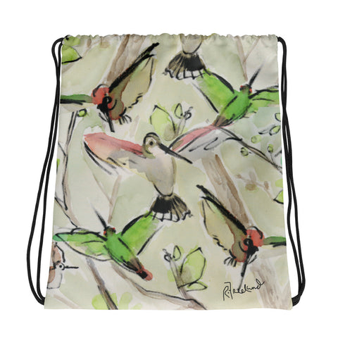 Hummingbirds by R. Freeland Drawstring Bag