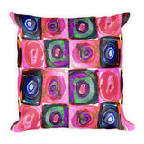 Circle in a Square Large Pink Square Pillow
