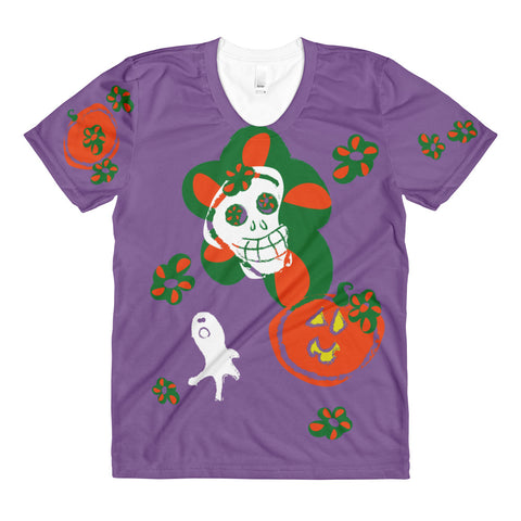 Paris METRO Couture: Pumpkins & Sugar Skulls T-Shirt in Purple - ParisMETROCouture.com