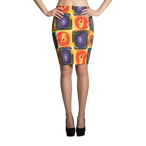 Circle in the Square Spandex Stretch Bodycon Pencil Skirt-Multi-Color