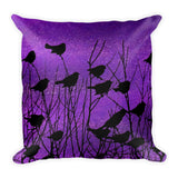 Shadow Birds in Purple - Square Pillow