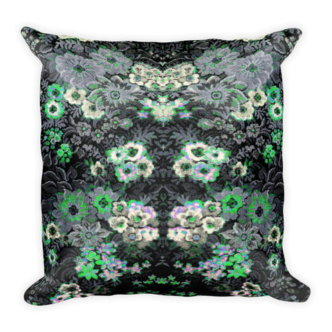 Boho Vintage Floral Grey Green Beautiful Square Pillow