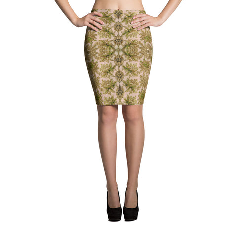 Royalty Spandex Bodycon Pencil Skirt in Leaf Green