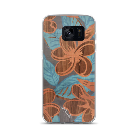 Hawaiian Wood Flower Blue Samsung Case