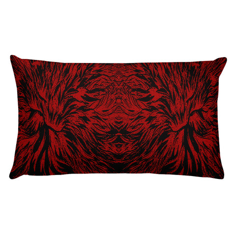 Abstraction Petal in Red Rectangular Pillow
