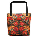 Boho Floral Field Reds Vintage Tote Bag Exclusive Original Art