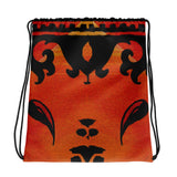 Paisley in Orange Drawstring bag