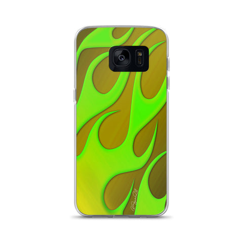 Hot Rod Flame Green Glow Samsung Case
