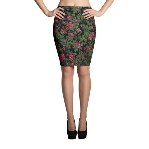 Boho Floral Deep Rose Bodycon Stretch Spandex Pencil Skirt
