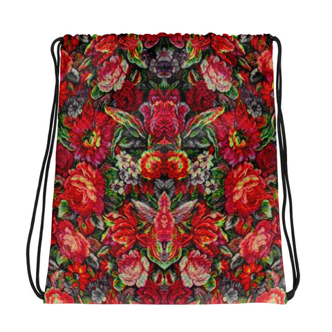Boho Tapestry Flowers in Red Drawstring bag