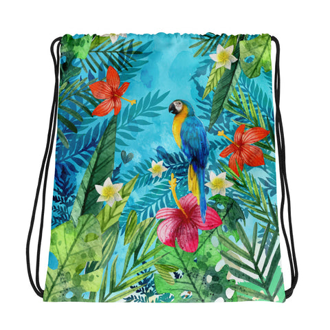 Jungle Parrot Drawstring bag