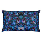 Boho Vintage Blue Floral Rectangular Pillow