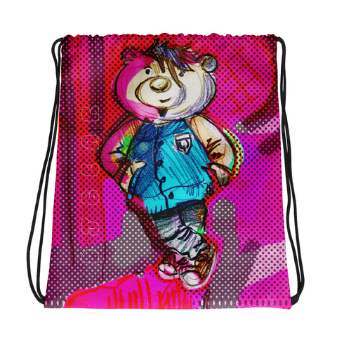 DJ Bear Colors Drawstring bag