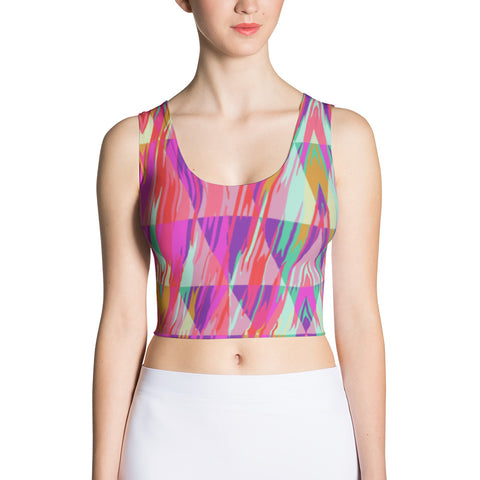 Zig-zag Abstract Peace Sublimation Cut & Sew Crop Top