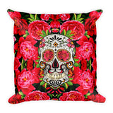 Paris METRO Couture: Sugar Skull Collectable Square Pillow - ParisMETROCouture.com