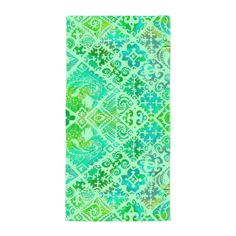 Hawaiian Vintage Floral Spray in Green Sea Beach Towel