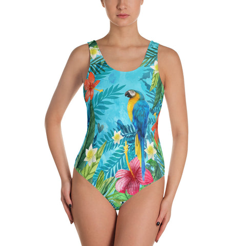 Parrot in the Tropical Beauty - One-Piece Swimsuit