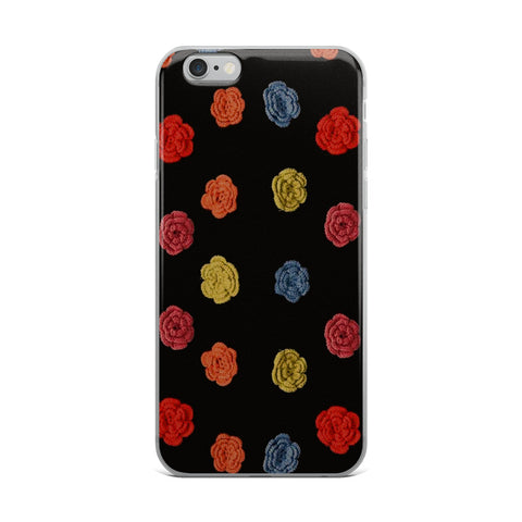 Flower Dots on Black Cell Phone Case - Fits iPhone X and Other Sizes 5-X