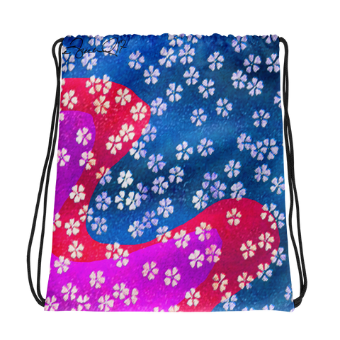 Little Flower in Fuchsia and Blue Drawstring bag