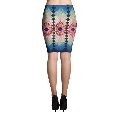 Folk Art Spandex Stretch Bodycon Pencil Skirt-Blue