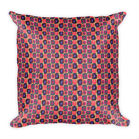 Circle in a Square, Square Pillow - Pink Tones