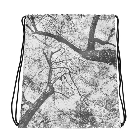 Etched Forest Above Drawstring bag